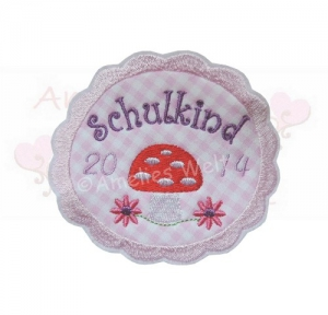 Schulkind Button in rosa