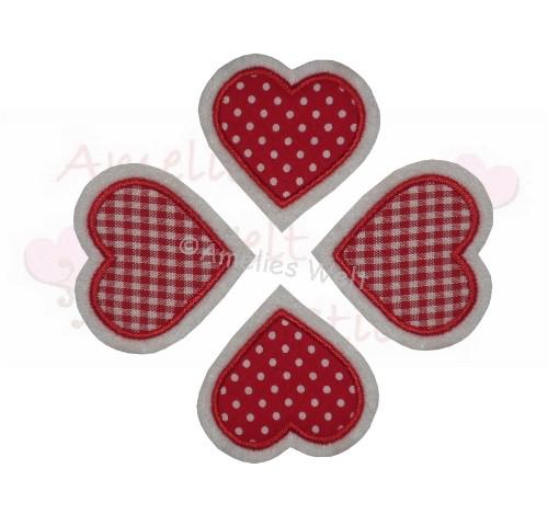 Herze 4 Stück Aufbügler Aufnäher Bügelbild rot applikation stickerei